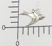 35874 - 12 Pc  Flying Bird Charm Jewelry Finding Matte Silver Ox