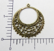 (Package of 12) Round Filigree Dangle (Brass Ox)