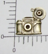 12 Pc Vintage Camera Charm Jewelry Finding w/Ring Brass Ox