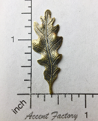 32553 - 2 Pc Victorian Large Oak Leaf Jewelry Finding Brass Ox