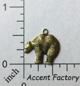 43633 - 12 Pc Small Bear Charm Jewelry Finding Brass Ox